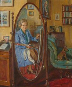 MARIE-LOUISE ROOSEVELT PIERREPONT Seated Self Portrait, Shown in a Cheval Dressing Mirror (1952)