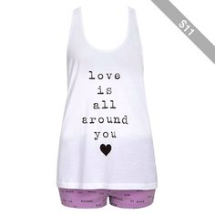 FOREVER 21 Love is All Around You PJ Set