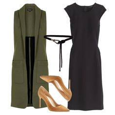 Pair a black shift dress with a tailored longline vest, a rope belt, and camel suede pumps