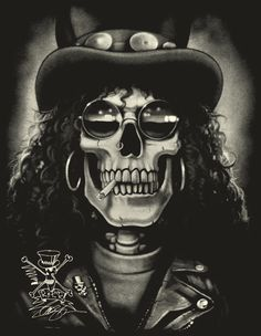 Slash (Guns n' Roses) Slash Guns N Roses, Guns And Roses, Hard Rock, Tatuagem Guns N Roses, Crane, Tattoo Studio, Totenkopf Tattoos, Skull Artwork, Rocker