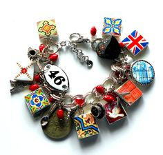 LOVE EUROPE Paris London Portugal Antique Azulejo Tile Replica Charm Bracelet - Travel - Bon voyage - Bon appétit - 1928 antique coin  OOAK