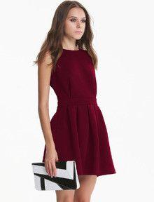 burgundy red dress, backless pleated dress, scallop designed dress - Crystalline