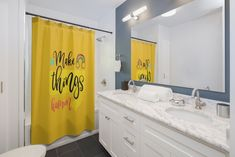 Inspirational Shower Curtains - Yellow. by MbiziHome on Etsy Yellow Shower Curtains, Custom Shower Curtains, Bathroom Shower Curtains, Creation Homes, Easy Home Decor, Home Decor Items, Colorful Curtains, Light Orange, Home Decor Inspiration