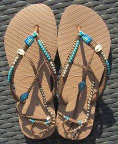 SALE Turquoise & Silver Sandals, Boho Sandals, Beaded Flip Flops, Women Shoes, Havaianas, Flat Shoes, Thong Sandals, Women Flip Flops, Gipsy