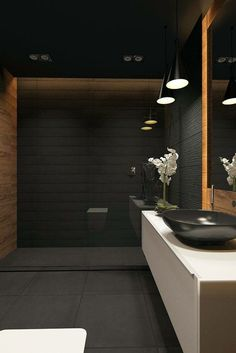 22 Best Black Floor Tile Design Ideas For Your Modern Bathroom Architecture Bathroom, Washroom Design, House Design, Bathroom Interior, Popular Bathroom Designs, Luxury Bathroom, Bathroom Decor, Beautiful Bathrooms, Black Bathroom