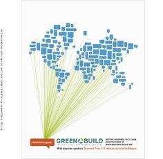 Greenbuild 2008印刷広告デザイン、革命的なグリーン、持続可能性、インスピレーション、会話、ネットワーク、スパーク、世界中