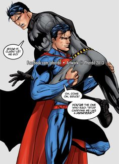 Superbat: Lifting Batsy by Phardil.deviantart.com on @deviantART; I swear, every time I look at this, all I see is Clark giving a thumbs up, even though I know he's not. XD;
