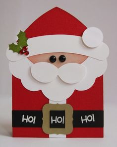Postal de Papá Noel hecha de papel. ¡Diversión y creatividad al poder! #christmas #cards #navidad #postales | Snippets By Mendi