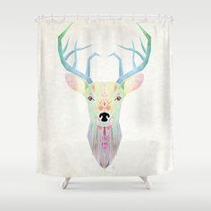 White Deer Shower Curtain