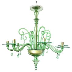 Emerald Green Murano Glass Chandelier by Venini | From a unique collection of antique and modern chandeliers and pendants at https://www.1stdibs.com/furniture/lighting/chandeliers-pendant-lights/