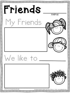 Back to School KINDERGARTEN writing about friends activity.