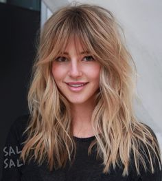 50 Cute and Effortless Long Layered Haircuts with Bangs Long Shag Haircut With Long Bangs Medium Hair Styles, Curly Hair Styles, Hair Medium, Medium Blonde, Layered Haircuts With Bangs, Long Hairstyles With Bangs, Natural Hairstyles, Long Shag Haircut, Shaggy Layered Haircut