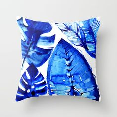 Jungle Blues Throw Pillow by lostmarketplace. Worldwide shipping available. #pillow #blue #jungle #botanical