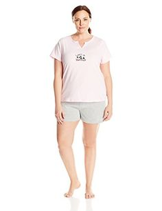 Rene Rofe Womens PlusSize Short Sleeve V Neck Pajama Set Plus Size Converchar 3X *** Click on the image for additional details.