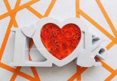 wedding prop orange heart paper quilled love by WonderCraftShop