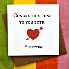 Engagement Quotes Congratulations, Congratulations To You, Engagement Cards, Brown Envelopes, Lesbian Wedding, Square Card, Special Day, Wedding Cards, Card Making