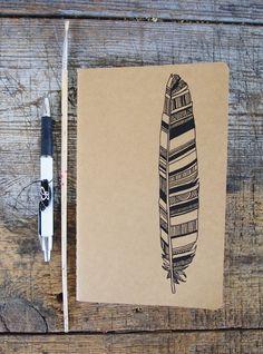 Line drawn doodles on Kraft paper - Feather Moleskine, Hand Illustrated. £12,00, via Etsy.