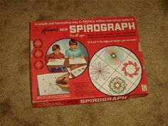 #Vintage #Kenners #Spirograph 401 (1967) kit in box GUC  Kenner's Spirograph kit # 401, 1967 edition  This kit includes: •17 wheels (#24 is missing from original set)  •2 rings •2 racks •Pins •1 pencil (not original) •Baseboard •Fitted storage tray •16 page full color pattern/instruction book (English) •Sample artwork created by the artist who previously owned the set   A nice collectible set from an era before computers replaced budding artists  05162013RITT232