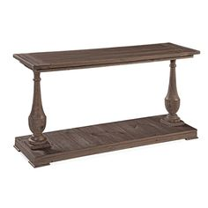 Craft a rustic vignette in the entryway or display framed family photos in the living room with this charming console, showcasing 2 carved legs and crafted from fir.
