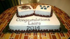 Grad cake- with high school & college logo - Event Planing Graduation Open Houses, High School Graduation, Graduation Cake, Chocolate Chip Cake, Chocolate Recipes, College Signing Day, Graduation Party Planning, Graduation Ideas, Cold Cake