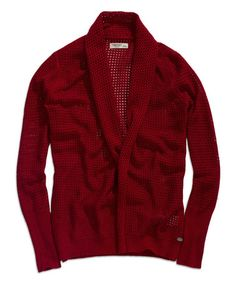 Another great find on #zulily! Vintage Red Waffle-Weave Open Cardigan by TIMEOUT #zulilyfinds