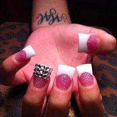 Love Pink & White Flares. Blinged Out Ring Nail.