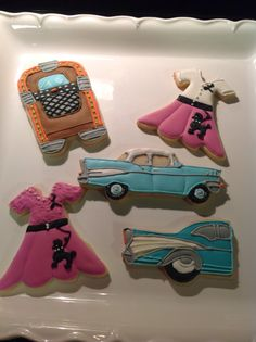 '50s themed birthday cookies! '57 Chevy, Juke Box, Poodle Skirt