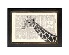 From Vintage Dictionary Art on etsy, this appealing print of a giraffe on a dictionary page