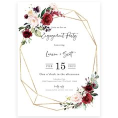 Floral Engagement Party Invitation | Forever Your Prints