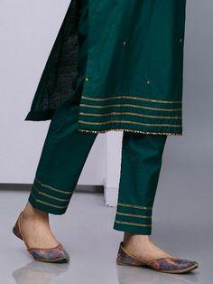 Emerald Green Silk Kurta with Pants - Set of 2 Silk Kurti Designs, Salwar Designs, Kurti Designs Party Wear, Kurta Designs Women, Blouse Designs, Neckline Designs, Salwar Pants, Kurta With Pants, Silk Pants