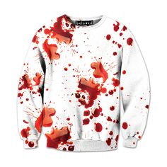 Blood Splatter Sweatshirt ❤ liked on Polyvore featuring tops, hoodies, sweatshirts, shirt top, white sweatshirt, white tops and white shirt