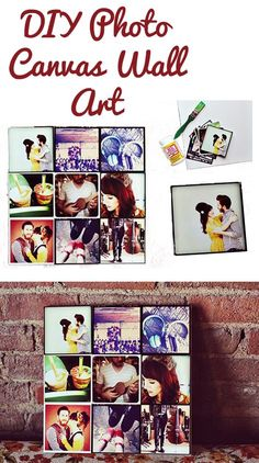 DIY Photo Canvas Wall Art. Idea for Using Pictures of Home and Family at School!
