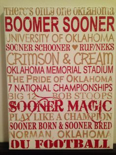Subway Art - University of Oklahoma Sooners. 'Rustic' Looking Canvas.Home Decor Sign. Man Cave. on Etsy, $30.00