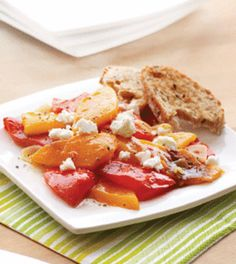 Roasted Sweet Peppers with Sour Orange Vinaigrette & Goat Cheese