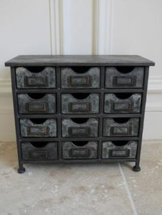 Vintage Industrial Style Metal Chest Of 12 Small Drawers ~ Aged Metal Cabinet