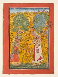 Vasanti Ragini, Vasant means spring, and here, two women stand in a burgeoning springtime landscape filling baskets with flowers. ca. 1710. Bilaspur, Himachal Pradesh, India. Garland of Musical Modes, Ragamala