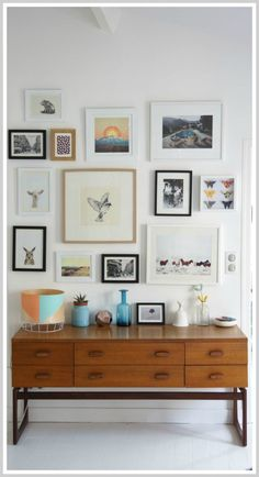 Picture frame wall and Swedish inspired sideboard