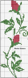 Linhas e Pontos: Os Meus Gráficos de Ponto Cruz Cross Stitch Borders, Cross Stitch Rose, Cross Stitch Flowers, Cross Stitching, Cross Stitch Patterns, Embroidery Stitches, Embroidery Designs, Pixel Crochet, Mini Quilts