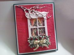 SueBee Cards  Susan Bagley  Gathered round the tree.  MB Window card