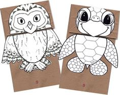 Adorable owl and turtle paper bag puppet for lower grade kids.