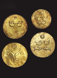 Trophy gold discs with birds and fish. ca century CE.