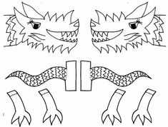Chinese New Year crafts for kids printable pages dragon muppet