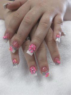 Pink & White French 3D Nail Art Bows by NailsbyJamie - Nail Art Gallery nailartgallery.nailsmag.com by Nails Magazine www.nailsmag.com #nailart