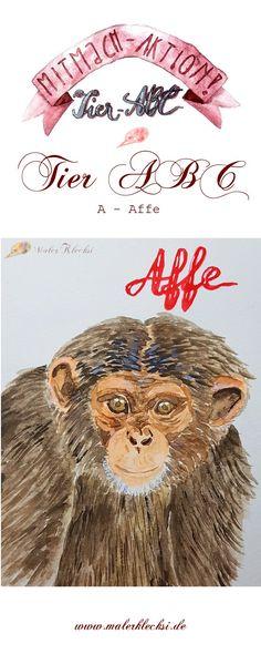 Heute startet meine Mitmach-Aktion das Tier-ABC und ich fange gleich mit dem A - Affe an. Jeder kann mitmachen. #tier-abc #mitmach-aktion #hobbymaler #malenundzeichnen Tier Abc, Teddy Bear, Movie Posters, Animals, Hands On Activities, Hobbies, Animales, Animaux, Film Poster