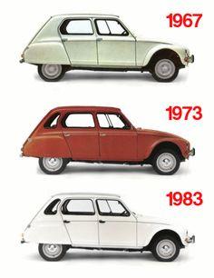The evolution of the Citroen Dyane Citroen Ds, Psa Peugeot Citroen, Retro Cars, Vintage Cars, Vintage Signs, Motos Vintage, Classy Cars, Cabriolet, Car Advertising
