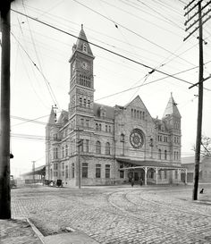 """Circa 1906. """"Union Station, Louisville, Kentucky."""" Continuing our architectural tour of the Derby City, with Fido as our guide. 8x10 glass neg. View full size."""