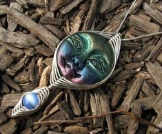 ON SALE - Handcrafted Wire Wrap Polymer Clay Moon Goddess Bead Pendant by Nixcreations, $24.99