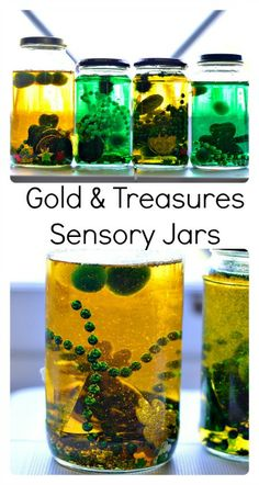 Gold and Treasures sensory jars kids can make. #sensoryactivities #stpatrick'sdayactivities