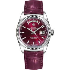 Rolex Day-Date 36mm White Gold Fluted Bezel 118139 Cherry Index... ($19,311) ❤ liked on Polyvore featuring jewelry, watches, white gold jewellery, white gold watches, rolex, rolex wrist watch and rolex watches