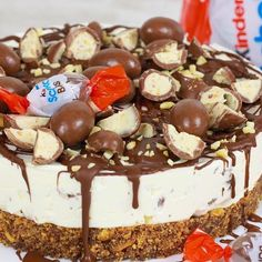 Kinder Schoko Bon Torte ohne Backen - Cook Bakery Notice of brand name: After a long, long time, I Easy Cake Recipes, Cookie Recipes, Dessert Recipes, Torte Au Chocolat, Chocolate Bonbon, Flaky Pastry, Mince Pies, New Cake, Breakfast Buffet